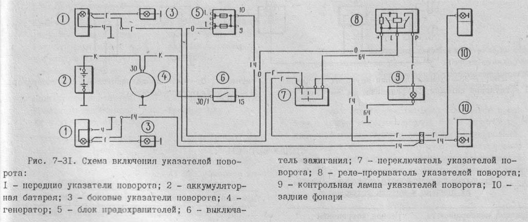 Схему указателей поворотов ваз 2101